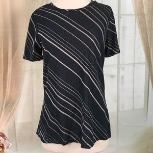 Kathy Ireland Navy Blue Striped Short Sleeved Top